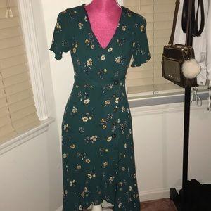 Teal Floral Maxi Wrap Dress